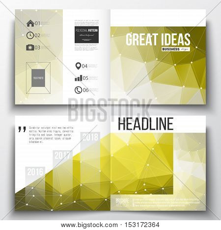 Vector set of square design brochure template. Molecular construction with connected lines and dots, scientific pattern on abstract yellow polygonal background, modern stylish triangle vector texture.