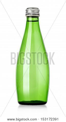 Glass bottle of soda water with clipping path. Isolated on white background