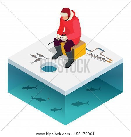 Ice fishing, a man on the ice fishing. Solitude and nature outdoor activities. Isometric flat people