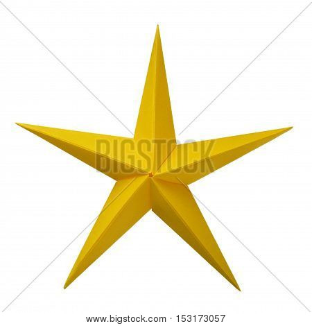 Yellow golden paper origami christmas lucky star isolated on white