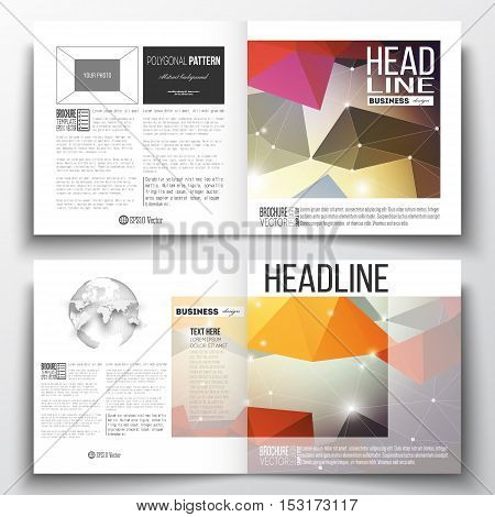 Vector set of square design brochure template. Molecular construction with connected lines and dots, scientific pattern on abstract colorful polygonal background, modern stylish triangle vector texture.