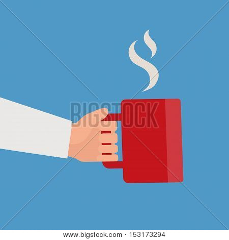 Hand holding red cup of hot drink. Coffee time, coffee break concept. Isolated vector illustration flat style.