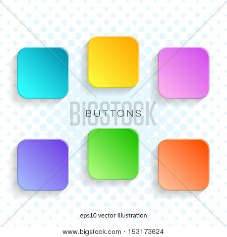 Modern vector blank colorful web buttons with shadows