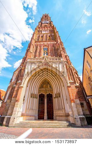 Saint Martin church's bell tower in Landshut town Germany