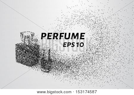 Perfume from the particles. Perfume and nail Polish consist of circles and dots.