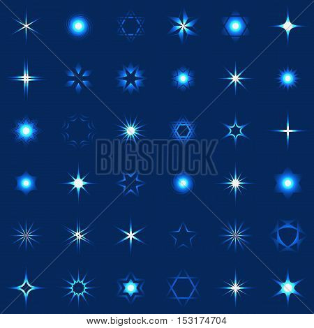 Collection of stars and sparkles shining design elements