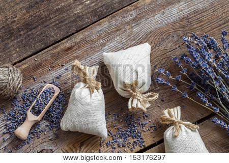 Bunch Of Lavender Flowers And Sachets Filled With Dried Lavender. Top View. Flat Lay.