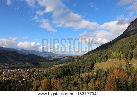 View to Oberstdorf in Allgau. Bavaria. Germany