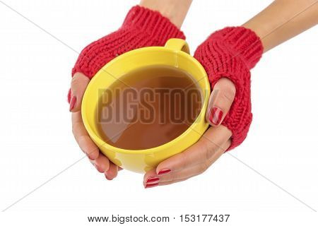 A cup of tea in female hands on a white background.