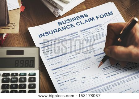 Business Insurance Claim Form Application Concept