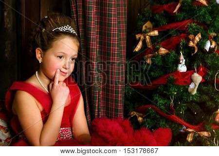 Pensive Girl Welcomes New Year And Christmas