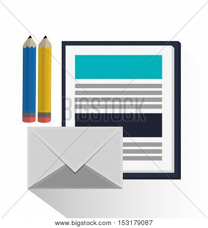 Document and envelope icon. Office work supplies and objects theme. Colorful design. Vector illustration