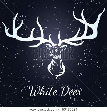 Vector deer with white silhouette. Format eps10.