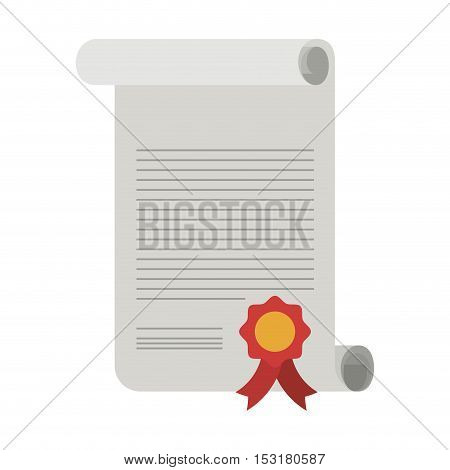 Diploma with red seal stamp icon. Graduation and university theme. Colorful design. Vector illustration