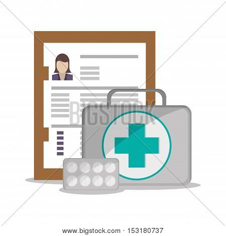 Medical kit and document icon. Medical and Health care theme. Colorful design. Vector illustration