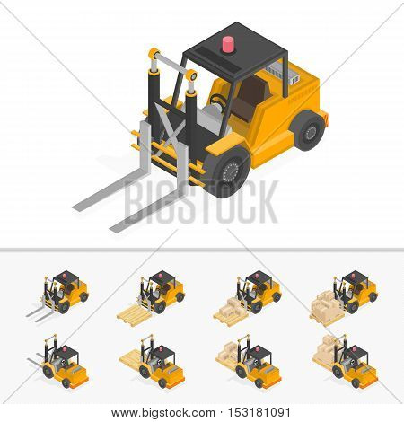 Isometric forklift loading pallets with boxes. Illustration isometric style, Warehouse work.