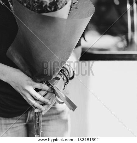 Woman Holding Bouquet Flowers Concept