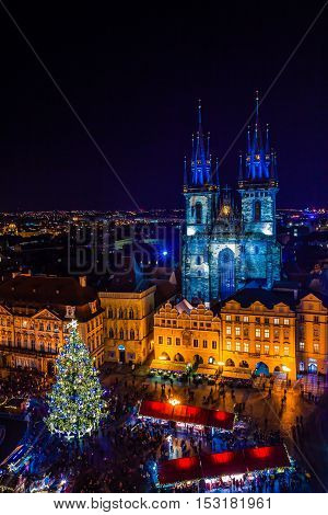 PRAGUE CZECH REPUBLIC - DECEMBER 22 2015: Christmas in Old Town Square in Prague Czech republic