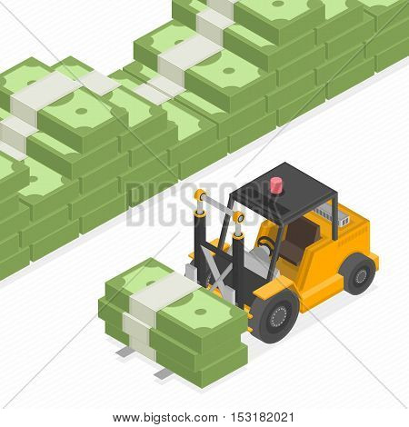 Isometric loader with pile of cash illustration. Big stacked pile of cash. Hundreds of dollars in flat style isometric illustration. Big money concept. Stacked pile of hundred us dollar cash.