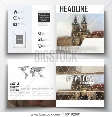 Vector set of square design brochure template. Polygonal background, blurred image, urban landscape, cityscape of Prague, modern triangular texture.