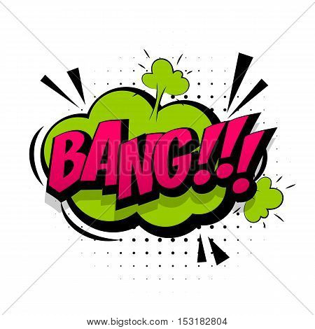 Comic sound effects pop art vector style. Sound bubble speech with word and comic cartoon expression sounds illustration. Lettering bang.