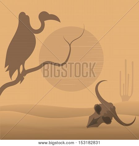 Collection of wild West desert vultures skull.