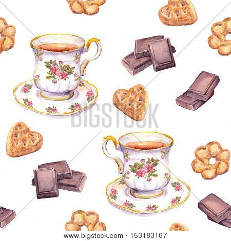 Seamless tea pattern with tea cup, chocolate and cookies. Watercolour