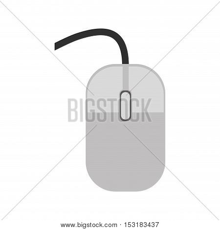 gray mouse computer device with black cord over white background. vector illustration