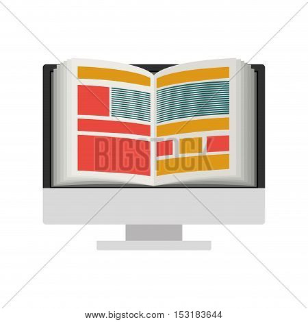 monitor computer with academic book on screen. e-learning digital  design over white background. vector illustration