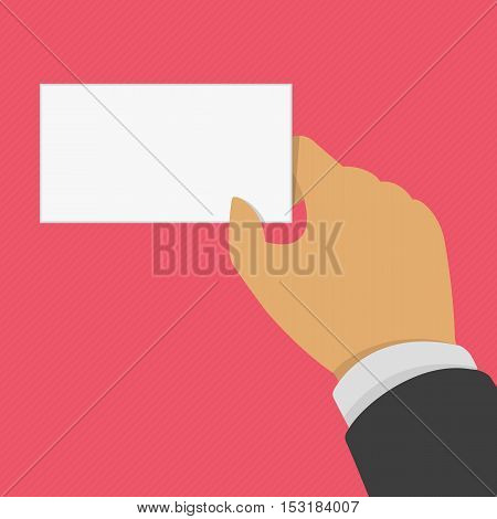 Vector illustration hand with blank business card.