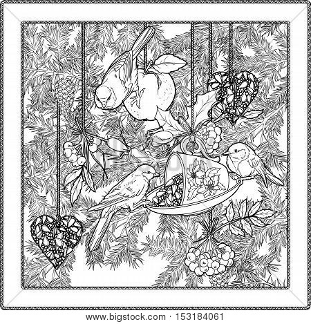 Black and white illustration of christmas tree, decorations and birds. Coloring page.