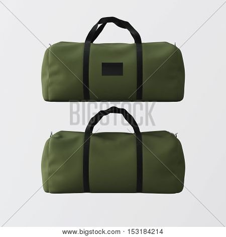 Sport fashion green bag with black handles isolated at the white background.Highly detailed texture materials in square photo.Empty mockup label on front side.Double sided mock up.3D rendering.