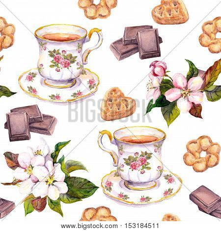 Repeated tea pattern - tea cup, chocolate, cookies and flowers. Watercolor