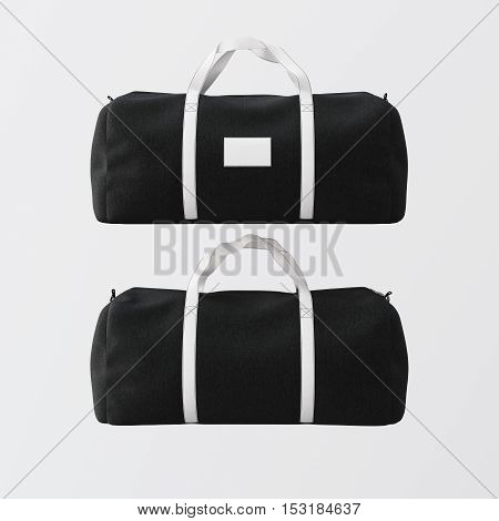 Black cotton textile sport fashion bag with white color handles isolated at empty background.Clean mockup label on the front side.Double sided mock up.3D rendering.
