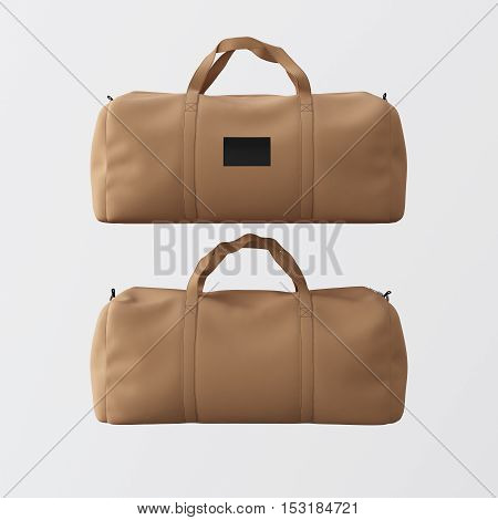Sport fashion bag of brown color with handles isolated at the white background.Highly detailed texture materials in square photo.Empty mockup label on front side.Double sided mock up.3D rendering.