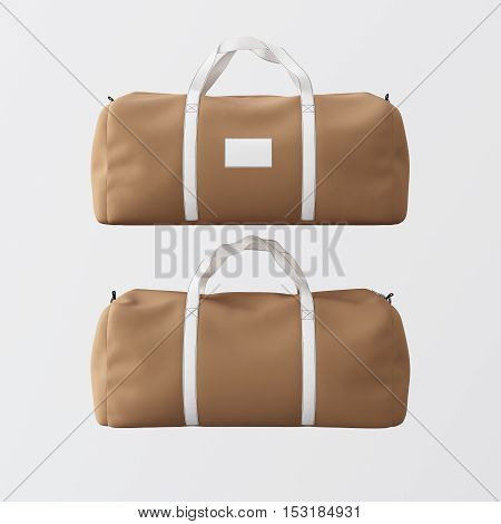 Sport fashion bag of brown color with white handles isolated at gray background.Highly detailed texture materials in square photo.Empty mockup label on a front side.Double sided mock up.3D rendering.