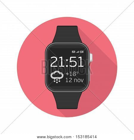 Smart watch sign icon whit long shadow. Modern wrist digital watches with watch app. Icon on red background.