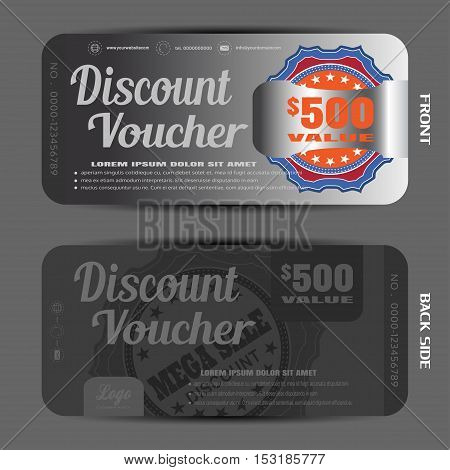 Blank of discount voucher vector illustration to increase sales on the dark gray background with label and clip.