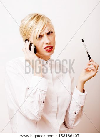 very emotional businesswoman in glasses, blond hair on white background. teacher hands up posing isolated. pointing gesturing, lifestyle people concept close up