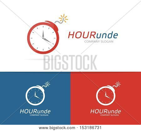 Vector logo combination of a clock and bomb. Explosion and timer logo. Clock and bomb symbol or icon. Unique danger and detonation logo design template. Creative clock bomb logo.