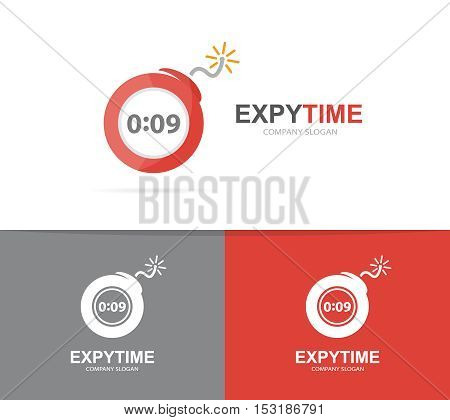 Vector logo combination of a timer and bomb. Explosion and clock logo. Timer and bomb symbol or icon. Unique danger and detonation logo design template. Creative watch bomb logo.