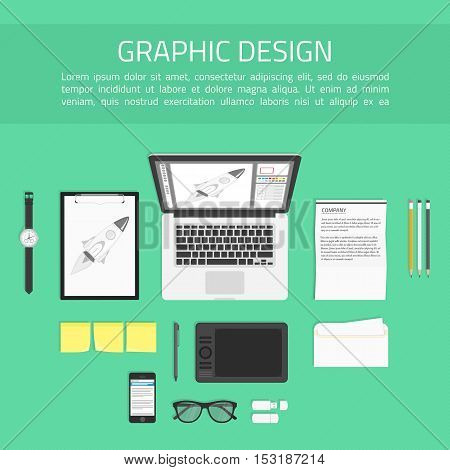 Concept of creative office workspace. Working place of designer with devices for work. Top view of desk background with laptop, graphic tablet digital devices, office objects and documents.
