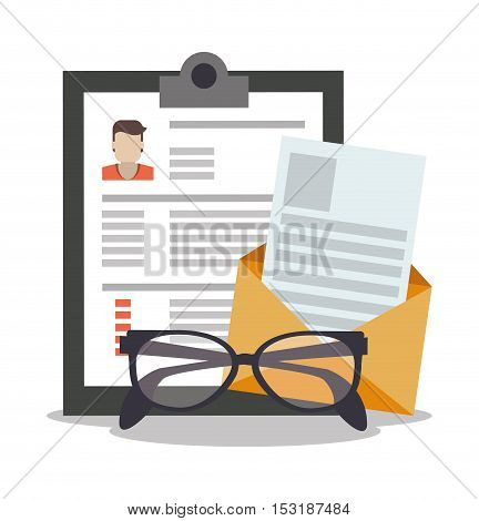 Document and glasses icon. Human resources search employee and business theme. Colorful design. Vector illustration