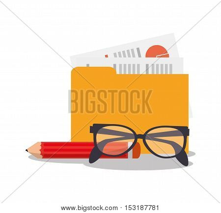 File glasses and pencil icon. Business supplies management and workforce and theme. Colorful design. Vector illustration