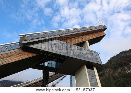 Oberstdorf, Germany - October 22, 2016: Schattenberg Ski Jump called Erdinger Arena in Oberstdorf, Bavaria, Germany. It is part of the Four Hills Tournament