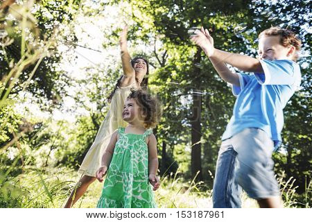 Brother Sister Cheerful Leisure Offspring Kids Concept