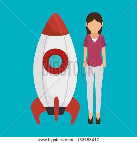 rocket startup isolated icon vector illustration design