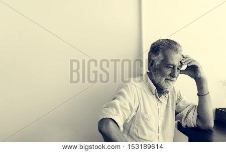 Senior Man Cafe Coffee Shop Thinking Planning Concept