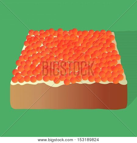 Sandwich with caviar and butter on isolated green background.