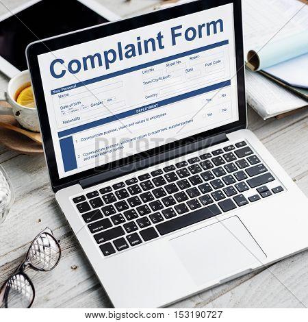 Complaint Form Application Documents Concept